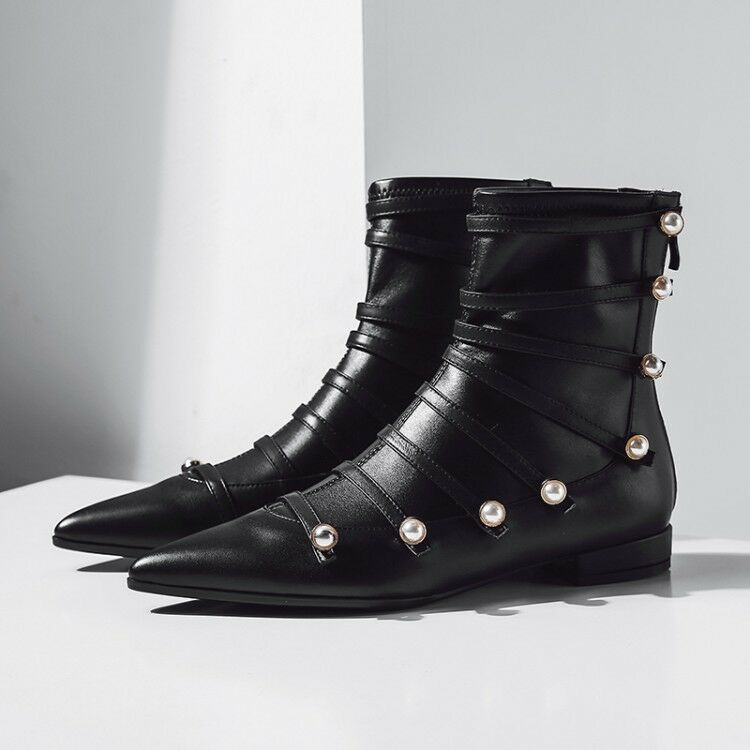 Womens Pointed Toe Pearl Button Ankle Boots Fashion Ladies Flat Heel Punk shoes