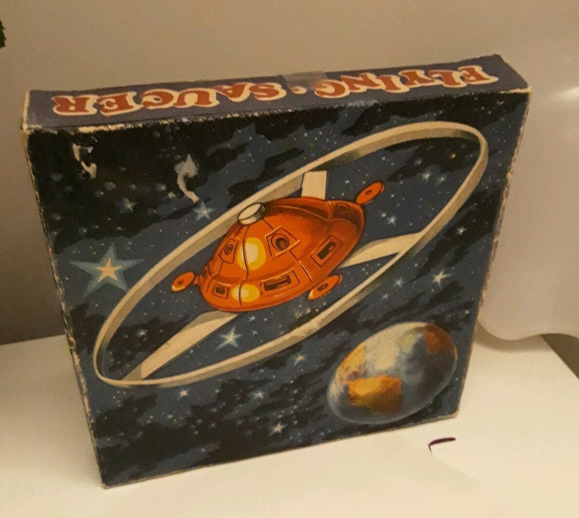 Vintage Romanian UFO Flying Saucer plastic space toy with original box-RARE