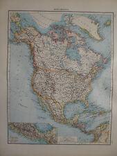 Landkarte von Nordamerika, USA, Kanada, Alaska, Lithographie, Andrees 1897