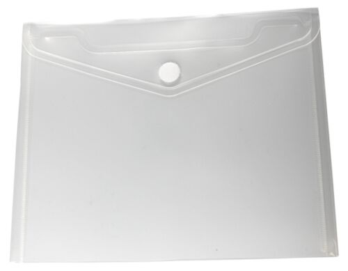 100x Dokumententaschen Umschläge Klettverschluss A5 quer farblos transparent