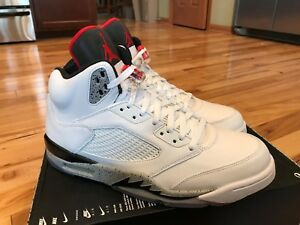 Nike Air Jordan 5 Retro White Cement Grey Red Black 136027-104 Size 12