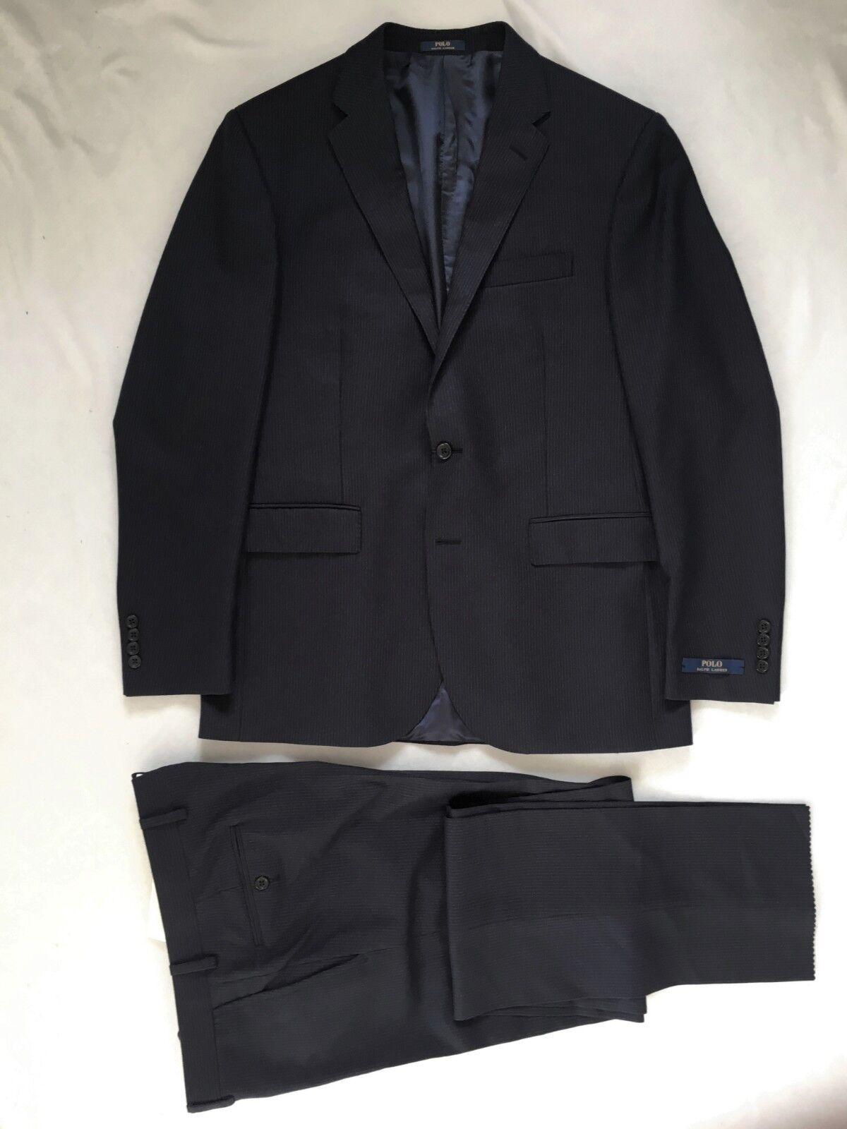 Polo Ralph Lauren, Anzug, 52 (US 42R), navy-Grau striped, custom fit, Wolle, neu