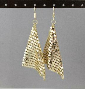 Image Is Loading Gold Mesh Earrings Lightweight Dangle Liquid Metal