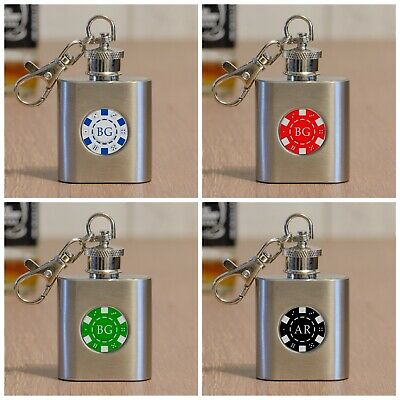 Personalised Wedding S//Steel Mini Pocket 1oz Hip Flask Keyring Gift