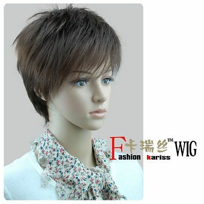029 New Short Dark Brown Cosplay Fashion Man Wig