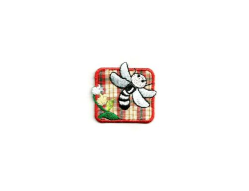 Plaid /& Embroidered Iron On Applique Patch Bumble Bee Flower