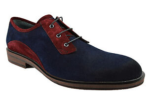 230-nukte-Rouge-Bleu-en-Cuir-et-Daim-Derby-Robe-Decontractee-Derbies-Homme-Chaussures
