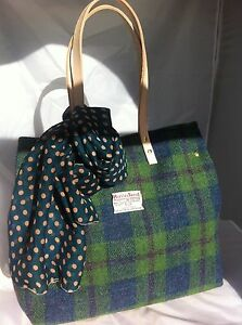8538f28cf0 Green blue Harris tweed bag tote gift for woman Scottish tartan ...