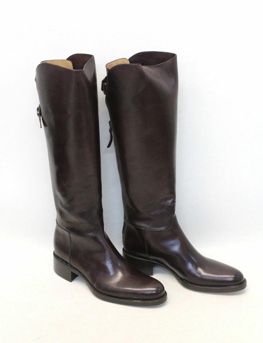 Nuevo Y En Caja Sartore Damas Marrón Cuero Tacón de bloque de punta rojoonda la rodilla botas altas UK2 EU35