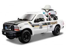 FORD 350 with HARLEY DAVIDSON MOTORBIKE 1:24 Police Metal Diecast Car Model Bike