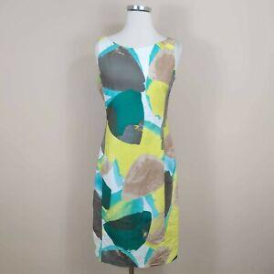 Piazza Sempione Sheath Dress Abstract Sleeveless Cotton 6 US IT 42