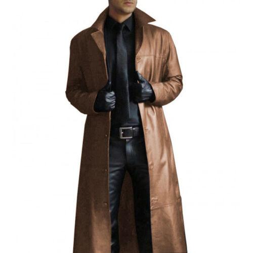 Mens Casual Long Gothic PU Jacket Slim Warm Windbreaker Coat Faux Leather Coat
