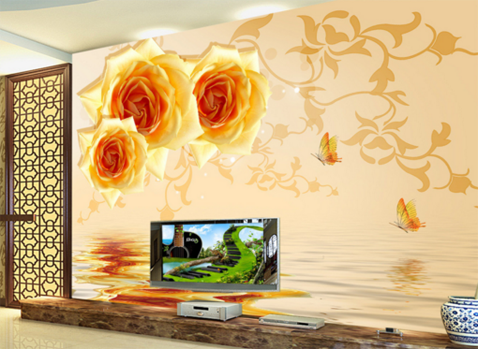 3D Golden Flowers Water Lake Paper Wall Print Wall Decal Wall Deco Indoor Murals