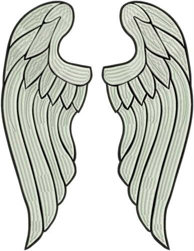 "Huge 40cm 16/"" FULL embroidery!! Angel wings LARGE embroidered back patch"