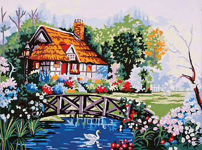 1x Printed Tapestry Thread Canvas Pond in the Garden Sewing Craft Tool Hobby