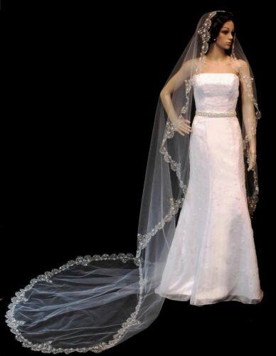 Swarovski Rhinestone Embroidered Cathedral Bridal Mantilla Veil Ivory//Wht//Chpgn