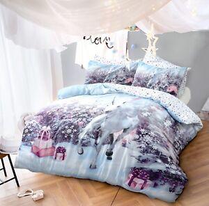 Christmas Duvet Cover Set King Size Double Single Unicorn New