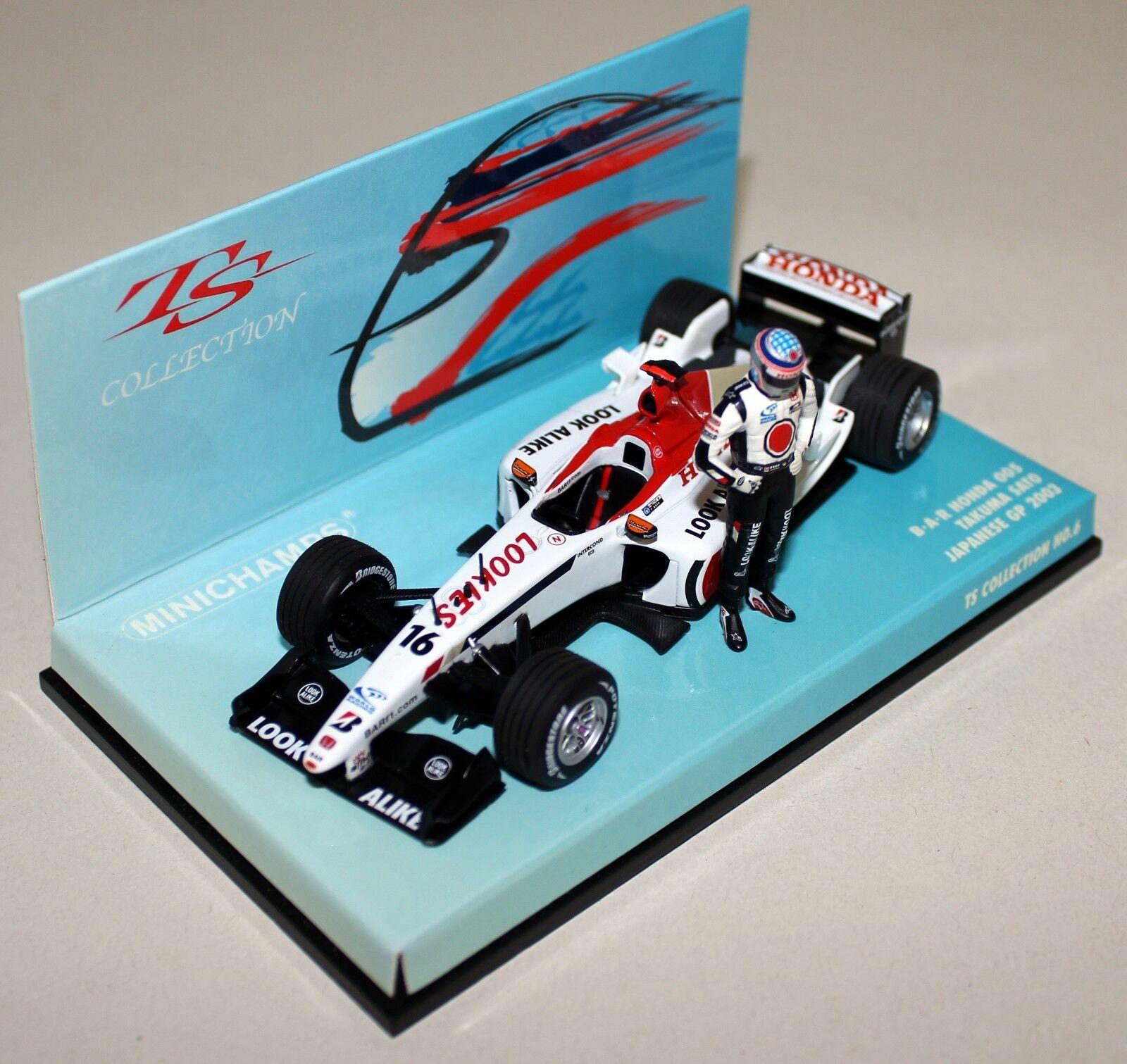 Minichamps 1 43 Scale 518 034316 B.A.R Honda 005 T Sato + Figure Diecast F1 Car