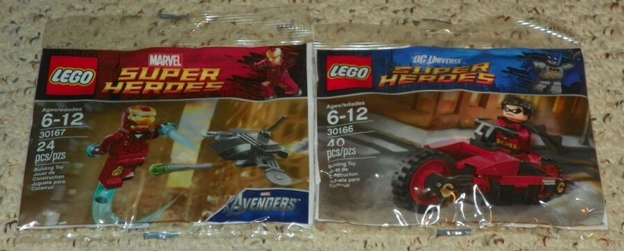 LEGO 30166, 30167 - Robin's Redbird Cycle & Iron Man Man Man Drone - Poly Bag Set - NEW f10d07