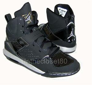 fafd012e0002 Nike Air Jordan Flight 45 Hi GS Black Silver Gold Premium Womens ...