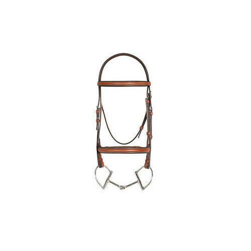 Aramas Fncy Stitched Rsd Padded Bridle w66Reins &Comfort CrownChestnut Horse