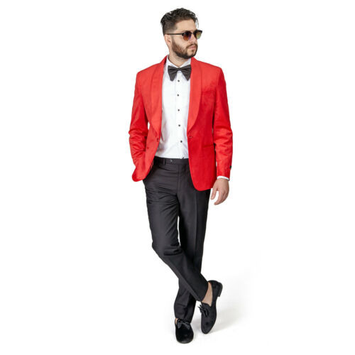 RED Shawl Lapel VELVET Jacket Slim Fit Tuxedo 1 Button Black Pants BY AZAR MAN
