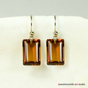 Image Is Loading Pure 18k 14k Gold Emerald Cut Madeira Citrine