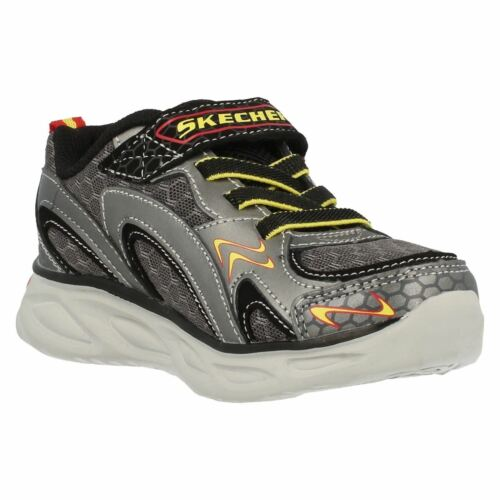 Skechers S Lights IPOX-Rayz Light Up Gun Metal//Red Leather Casual Trainers