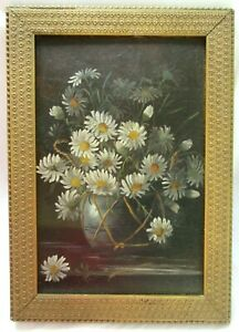 Big-Antique-Victorian-Oil-Painting-Folk-Art-Still-Life-Floral-Country-Primitive