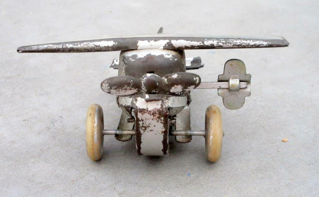 Vintage Old Collectible Wind Up Small Airplane Take Off Action Work Tin Toy