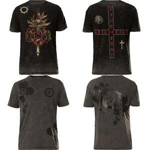 Maglietta shirt T Last Schwarz Grau Bounty Rev Affliction rY6nOr