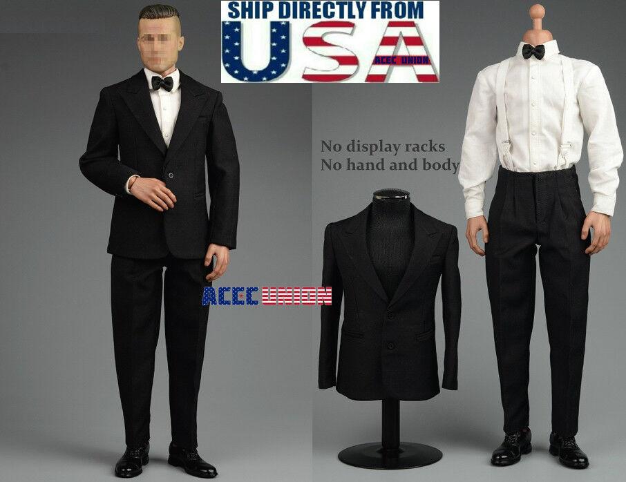 1 6 Vintage Gentleman Tuxedo Suit Set A For Brad Pitt 12  Hot Toys Figure U.S.A.