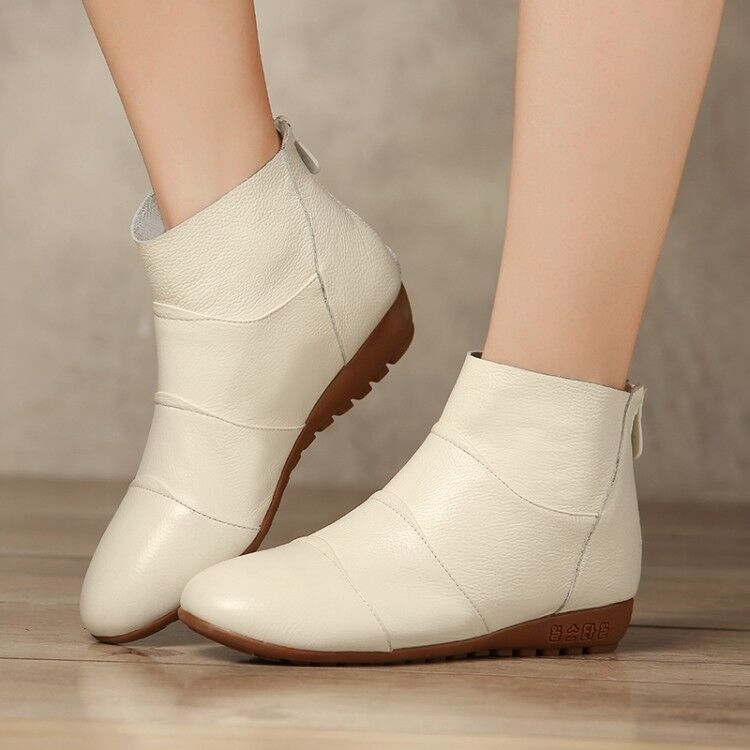 Hot WOmen's Pu Leather Zip Round toe Comfortable Soft Flats Casual Ankle Boots