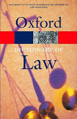 """""""AS NEW"""" A Dictionary of Law (Oxford Paperback Reference), , Book"""
