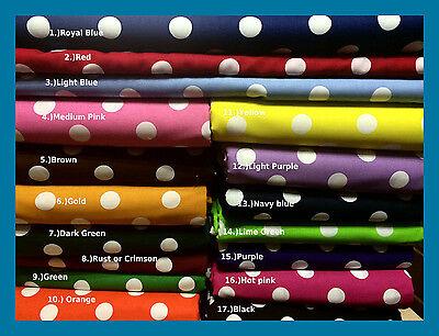 New Polka DOT print Cotton Fabric by the Yard Big Dots lots of Colors U PICK