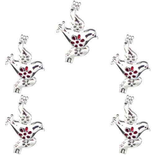5PCS-L18 oiseau perles cage Diffuseur Charme Médaillon Argent Clair