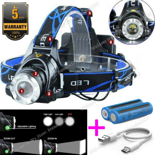 Details about  /350000LM Rechargeable Headlight LED Headlamp Tactical Head Torch Lights Lamp Lot