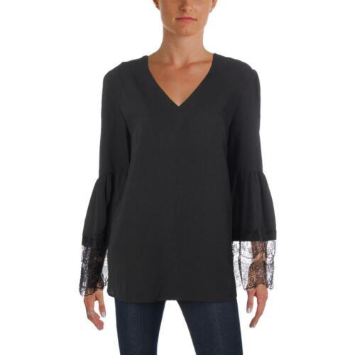 Nine West Womens Black Lace Trim V-Neck Textured Peasant Top Blouse M BHFO 2671