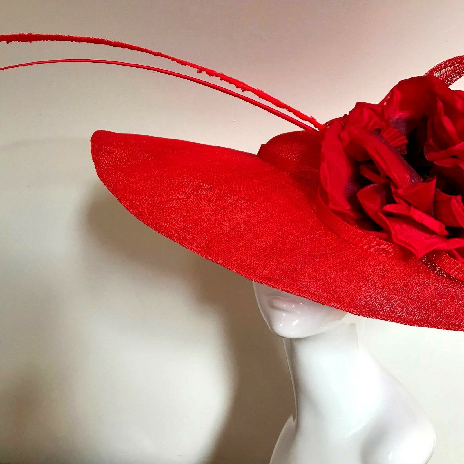 Exclusive Red Designer Millinery by Hat Couture Wedding Bridal Racing Ascot Hat