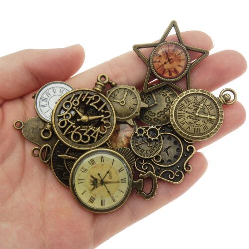 10 pcs DIY Jewelry Making Vintage Bronze Metal Clocks Pendants Charms Mix Crafts
