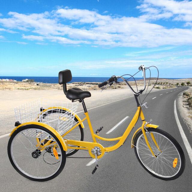 "6-Speed 24/"" Adult 3-Wheel Tricycle Bicycle Cruise Bike Trike W// Basket Backrest"