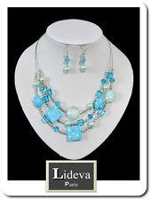 Set 2 Tlg Kette Ohrringe Schmuckset Collier Halskette Porzellan Glas Perlen Blau