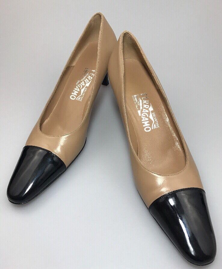 Salvatore Ferragamo Tan & Black Classic Cap Toe Pumps Size 7.5 AAA Wear To Work