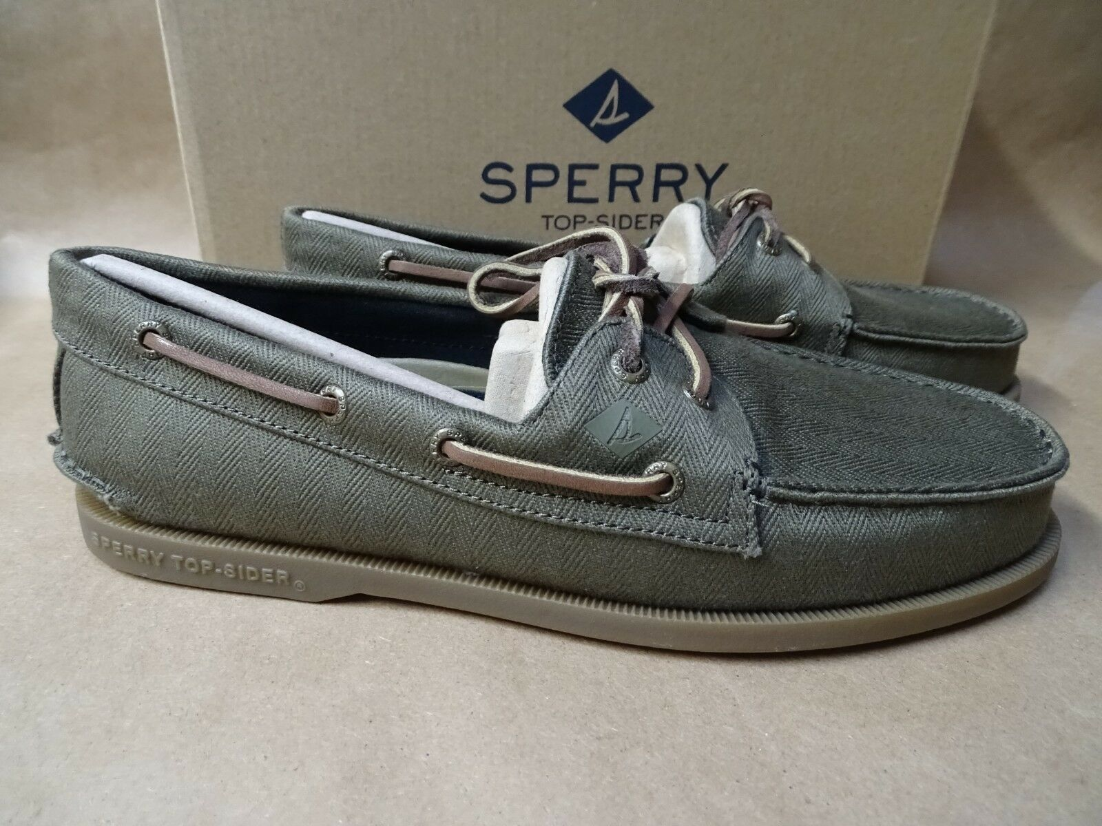 d138090ae69b0 NEW Sperry Mens Boat Shoes Authentic Original A/O 2-Eye Surplus Olive Green