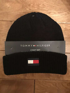 2-PACK-Tommy-Hilfiger-Fleece-Lined-Gray-amp-One-Cuffed-Knit-Black-Hat-Beanie-Logo