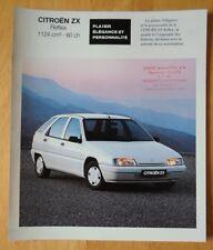 CITROEN ZX Reflex 1991 French Market sales brochure