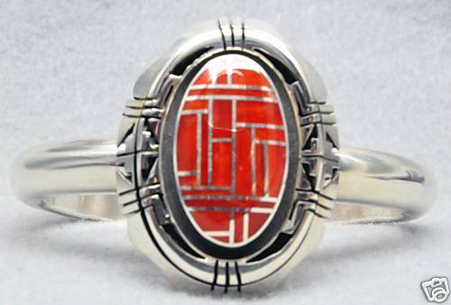 Sterling Silver Navajo Mediterranean Coral Inlay Cuff Bracelet Signed by Artist