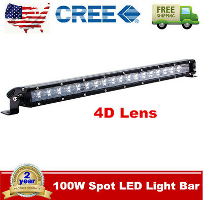 4D 21inch 100W LED Light Bar Single Row Spot OffRoad Driving UTE Ford Slim Boat