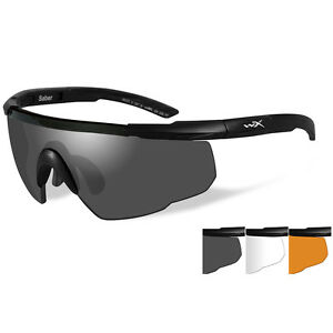 Wiley X Saber Advanced Sunglasses - Smoke Grey/Clear/Rust Lens - Matte Black Fra