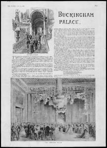 1887-Antique-Print-ROYALTY-LONDON-Buckingham-Palace-Throne-Room-135